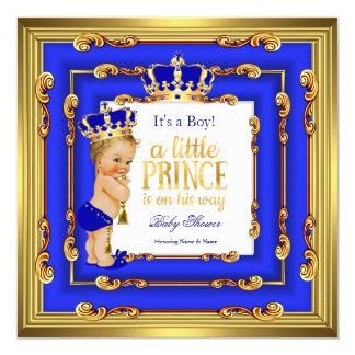 "Prince Baby Shower Royal Blue Gold Frame Blonde 5.25"" Square Invitation Card"