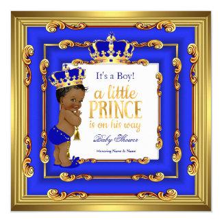 "Prince Baby Shower Royal Blue Gold Frame Ethnic 5.25"" Square Invitation Card"