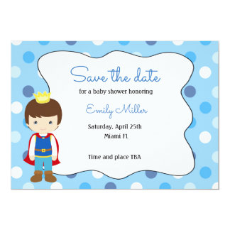 Prince Baby Shower Save the Date Card