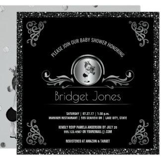 Prince Boy Baby Shower Black Silver Faux Glitter Card