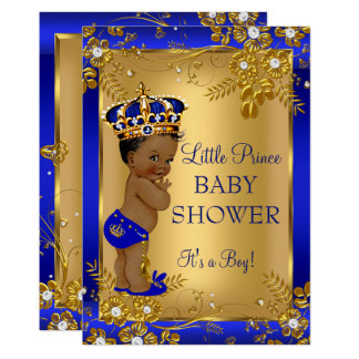 Prince Boy Baby Shower Gold Blue African American Card