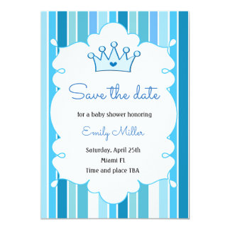 Prince Boy Baby Shower Save the Date Card