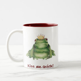 Prince Charming Frog, Kiss me quick! Two-Tone Coffee Mug