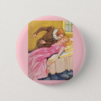 Prince Charming kissing Sleeping Beauty 2 Inch Round Button
