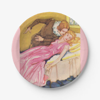 Prince Charming kissing Sleeping Beauty Paper Plate