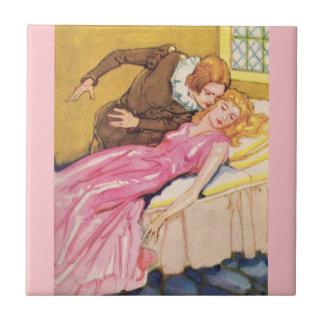 Prince Charming kissing Sleeping Beauty Tile