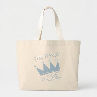 Prince Crown 1st Birthday Jumbo Tote Bag
