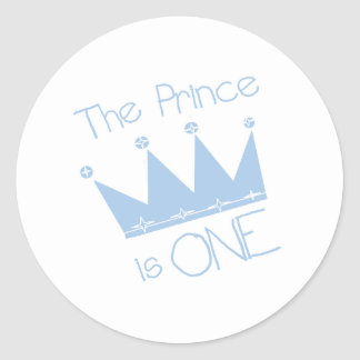 Prince Crown 1st Birthday Round Sticker
