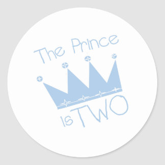 Prince Crown 2nd Birthday Round Sticker