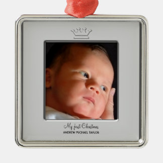 Prince Crown Baby Boy First Christmas Photo Metal Ornament