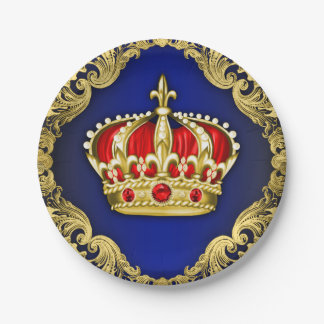 Prince Crown Royal Baby Shower 7 Inch Paper Plate