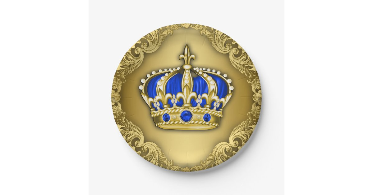 Prince Crown Royal Blue Prince Baby Shower 7 Inch Paper