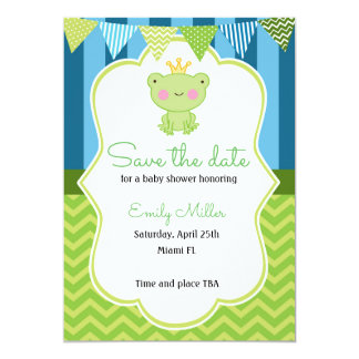 Prince Frog Baby Shower Save the Date Card