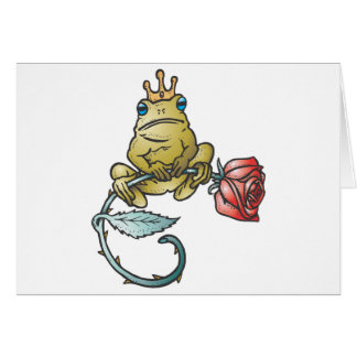 prince frog with rose greeting cards