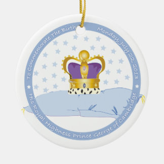 Prince George of Cambridge Pillow and Crown Ceramic Ornament