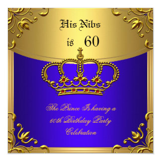 "Prince King Red Gold Royal Blue Crown Birthday 60 5.25"" Square Invitation Card"