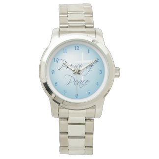 Prince of Peace Christian Cross on Blue Wristwatch