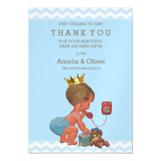 Prince on Phone Teddy Chevrons Thank You Magnetic Invitations