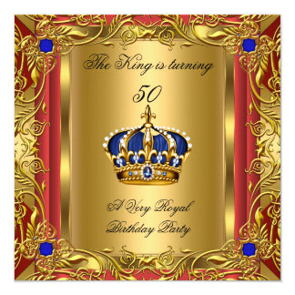"Prince or King Red Gold Royal Blue Crown Birthday 5.25"" Square Invitation Card"