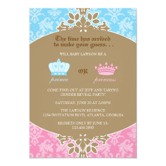 "Prince or Princess Damask Gender Reveal Party 5"" X 7"" Invitation Card"