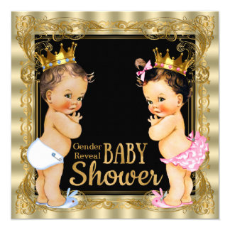 "Prince or Princess Gender Reveal Baby Shower 5.25"" Square Invitation Card"