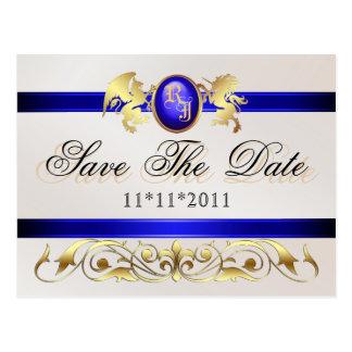 Prince & Princess Blue Save The Date Postcard