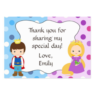 Prince Princess Gift Favor Tag Thank You Label Large Business Card