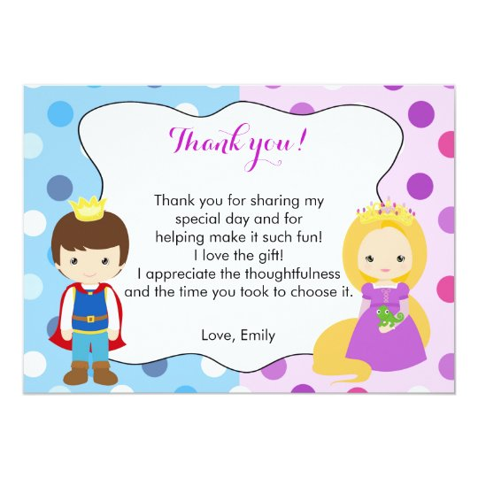 Prince Princess Thank You Card Girl Boy Birthday