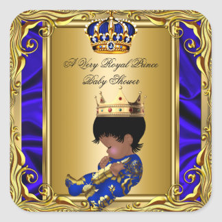 Prince Royal Blue Baby Shower Regal Gold Boy Square Sticker
