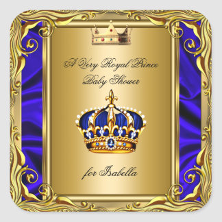 Prince Royal Blue Baby Shower Regal Gold Square Sticker
