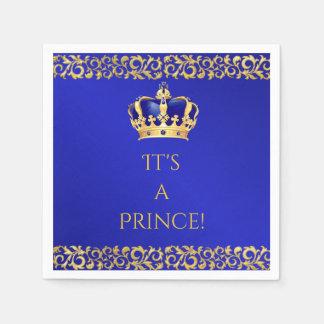 Prince Royal Blue & Gold Crown Paper Napkin