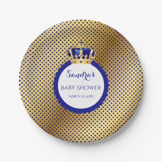 Prince Royal Blue Gold Crown Paper Plate