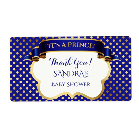 Prince Royal Blue Gold Thank You Gift Address Shipping Label