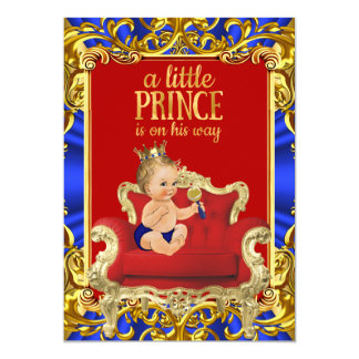 "Prince Royal Blue Red Throne Baby Shower Blonde 5"" X 7"" Invitation Card"