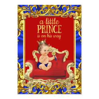 "Prince Royal Blue Red Throne Baby Shower Brunette 5"" X 7"" Invitation Card"