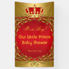 Prince Royal Gold Red Crown Baby Shower Boy Banner