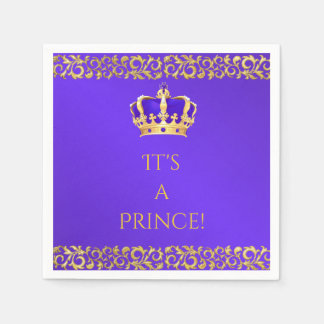 Prince Royal Purple & Gold Crown Disposable Napkins