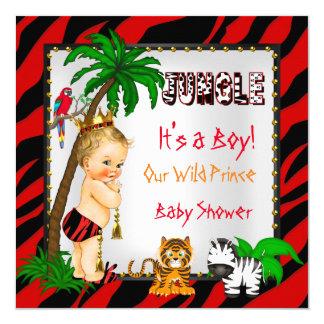 Prince sauvage Red Blonde de jungle de safari de Carton D'invitation 13,33 Cm