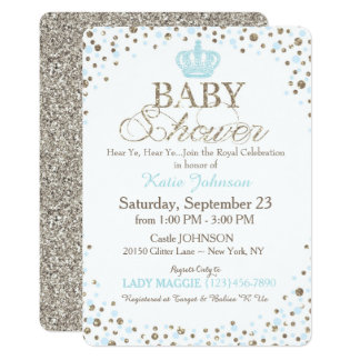 Prince Silver Glitter Sprinkle Baby Shower Card