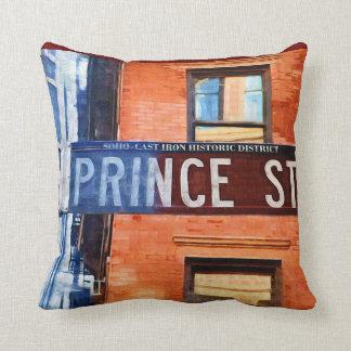 Prince Street Sign NYC Throw Pillow