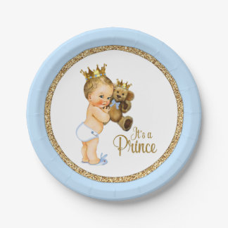 Prince Teddy Bear Boy Baby Shower Paper Plate