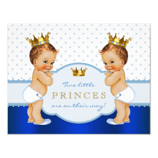 Prince Twin Boy Baby Shower Card