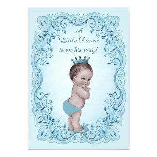 Prince vintage bleu baby shower carton d'invitation  12,7 cm x 17,78 cm