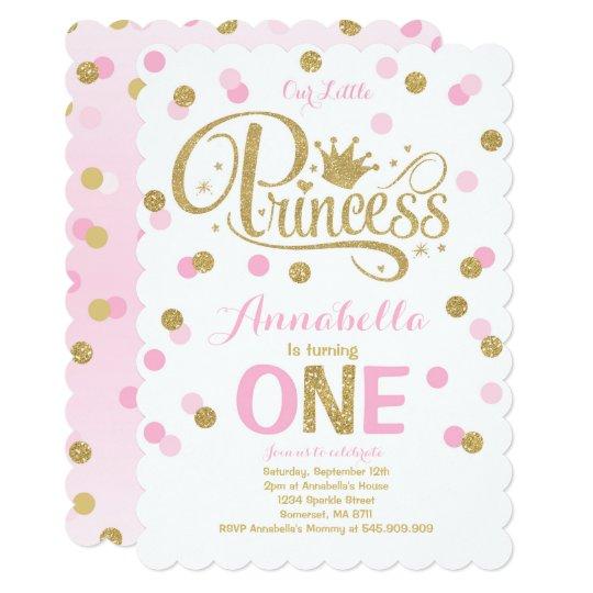 Princess 1st Birthday Invitation Pink Gold Invite