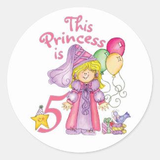 Princess 5th Birthday Classic Round Sticker