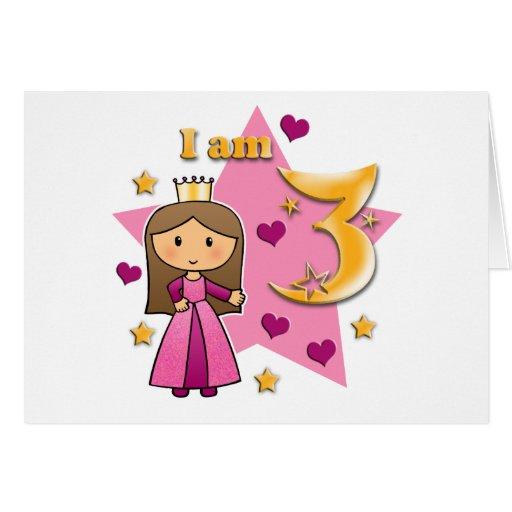 Princess Age 3 Greeting Cards