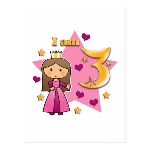 Princess Age 3 Post Card
