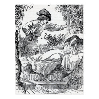 Princess alseep in Bed in the Forest Prince Postcard