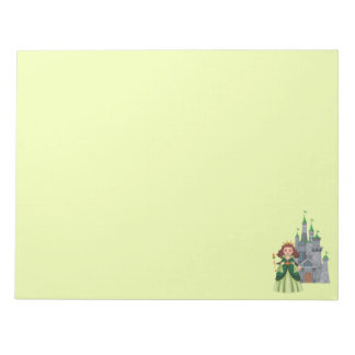 Princess and Castle in Green Notepad