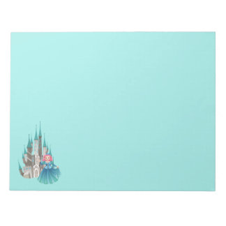 Princess and Castle in Turquoise Notepad